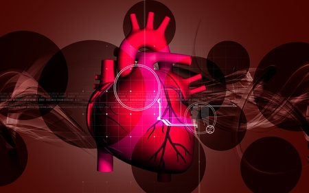 Digital illustration of  heart  in  colour  background  illustration