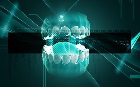 dental background: Digital illustration of  Mouth in colour background