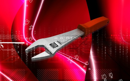 adjustable: Digital illustration of adjustable wrench in colour background  Stock Photo