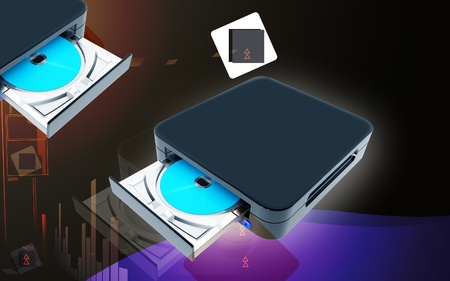 dvd rom: Digital illustration of Blue ray device  in colour background Stock Photo
