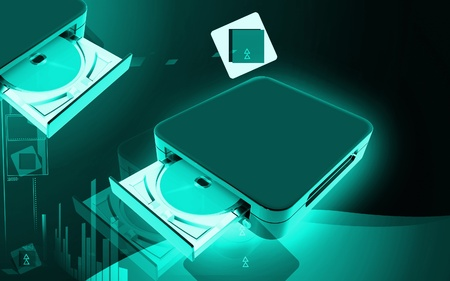 blu ray: Digital illustration of Blue ray device  in colour background Stock Photo