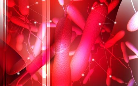 colera: Ilustración digital de la bacteria del cólera en el color de fondo