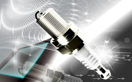plug in: Digital illustration of Spark plug in colour background