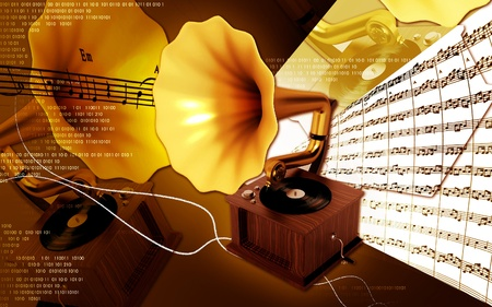 Digital illustration of Gramaphone in colour background  illustration