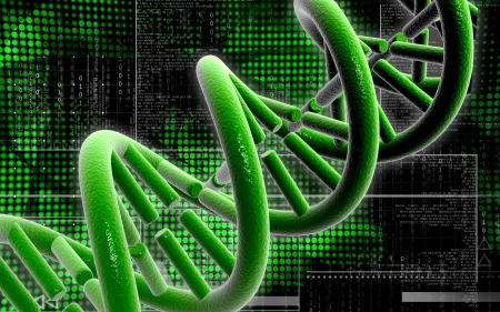 Digital illustration DNA structure in colour background  Stock Illustration - 20394227