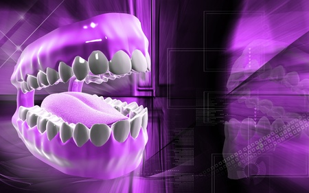 uvula: Digital illustration of  Mouth in colour background