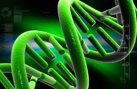 Digital illustration DNA structure in colour background  Stock Illustration - 12155933