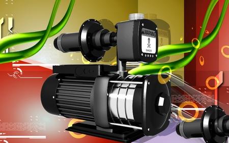 Digital illustration of pressure pump in colour background  illustration