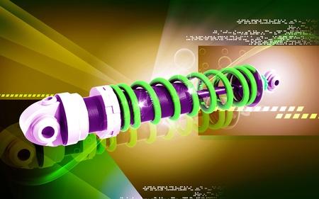 Digital illustration of Shock absorber in colour background Stock Illustration - 12155954