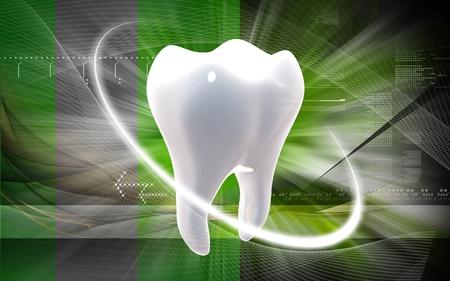 dental care: Digital illustration of teeth in colour  background
