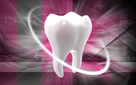 domestic life: Digital illustration of teeth in colour  background