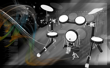 Digital illustration of Drum in colour background illustration