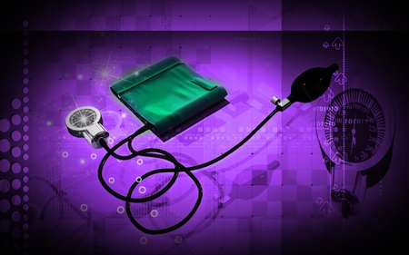 Digital illustration of sphygmomanometer in colour  background Stock Illustration - 12443647