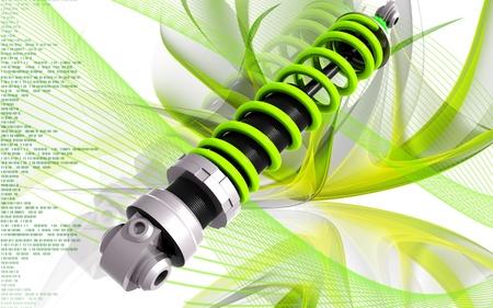 coil spring:  Digital illustration of Shock absorber in colour background