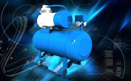 air compressor: Digital illustration of air compressor in colour background  Stock Photo