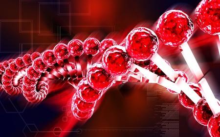 DNA Digital illustration DNA structure in colour background   illustration