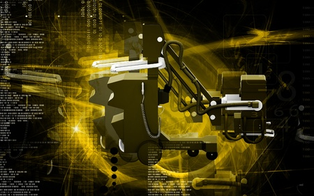 high frequency: Digital illustration of  High frequency mobile x-ray camera in  colour  background