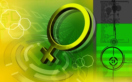 gamete: Digital illustration of female sign in colour background  Stock Photo