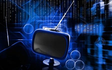 Digital illustration of Television in colour  background Stock Illustration - 12745659
