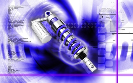 Digital illustration of Shock absorber in colour background Stock Illustration - 12745661