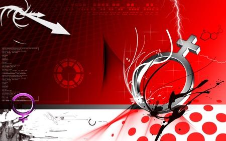 Digital illustration of  planet symbol in colour background  illustration