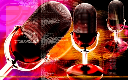 rehearse: Digital illustration of microphone in colour background  Stock Photo