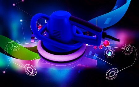 Digital illustration of Car polisher in colour background  illustration