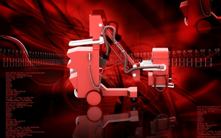 high frequency: Digital illustration of  High frequency mobile x-ray camera in  colour  background  Stock Photo