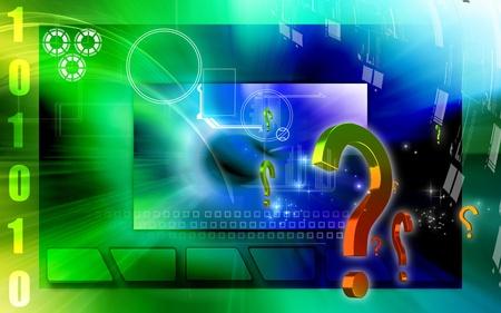 Digital illustration of question mark sign in colour background Stock Illustration - 12745458