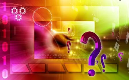 Digital illustration of question mark sign in colour background Stock Illustration - 12745396