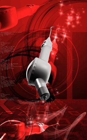 Digital illustration of Micro motor dental polisher   in colour background   illustration