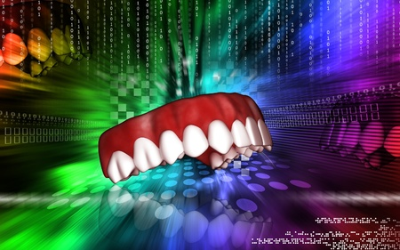 Digital illustration of teeth   in colour  background Stock Illustration - 12745383