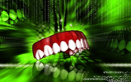 Digital illustration of teeth   in colour  background     illustration