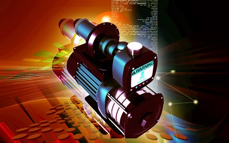 Digital illustration of pressure pump in colour background Stock Illustration - 13044258