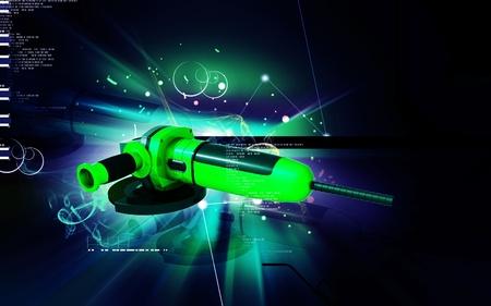 grind: Digital illustration of angle grinder in colour background