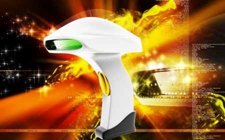 barcode scanner: Digital illustration of Barcode Scanner cable in colour  background  Stock Photo