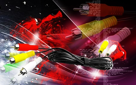 Digital illustration of Audio Video cable in colour  background  illustration