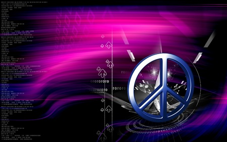 peaceably: Digital illustration of peace symbol in isolated  background