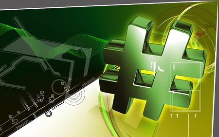 hash: Digital illustration of hash key sign in colour background