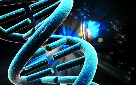 three colors: Digital illustration DNA structure in colour background
