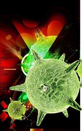 Digital illustration of  herpes virus in colour  background Stock Illustration - 13213955