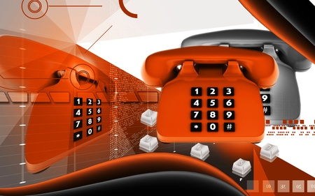 Digital illustration of Telephone in colour background  illustration