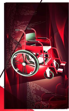 Digital Illustration of  wheel chair  in colour background Stock Illustration - 13449282