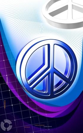 Digital illustration of peace symbol in isolated  background  illustration