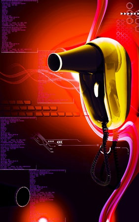 Hair dryer Digital illustration of hair dryer cable in colour  background  illustration