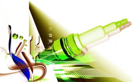 ignition: Digital illustration of Spark plug in colour background