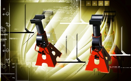 Digital illustration of Car lift in colour background  illustration