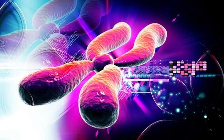 Digital illustration  of chromosome in   colour background    Stock Photo