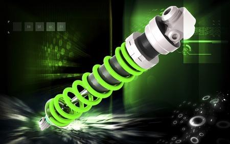 Digital illustration of Shock absorber in colour background Stock Illustration - 13525116