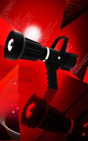 Digital illustration of fire fighting nozzle in colour background  Stock Photo